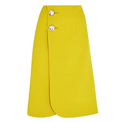 Crystal-Embellished Wool-Crepe Wrap Skirt