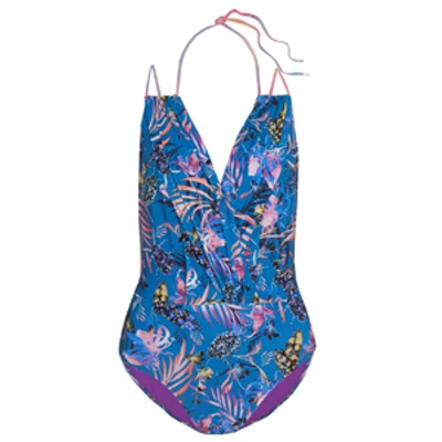 Blue Marble Nature Print Swimsuit