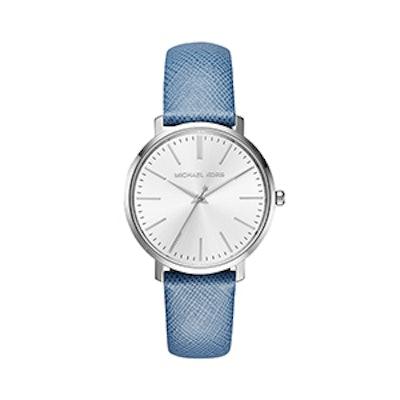 Jaryn Silver-Tone Leather-Band Watch