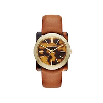Kempton Tortoise-Acetate Leather-Band Watch
