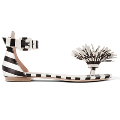Mariela Montiel Striped Duchesse-Satin Sandals