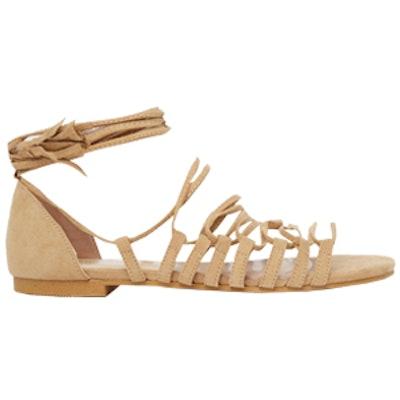 Strappy Detail Tie Up Flat Sandals
