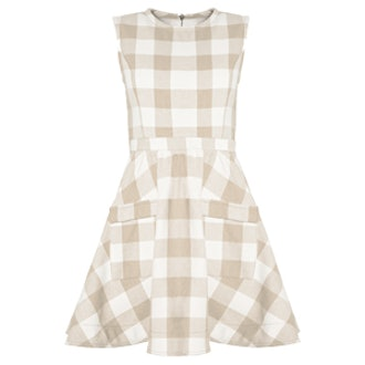 Tan Gingham Fit And Flare Dress