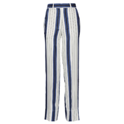 Striped Silk-Twill Wide-Leg Pants