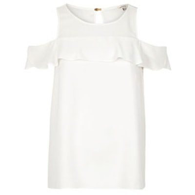 White Frilly Cold-Shoulder Top