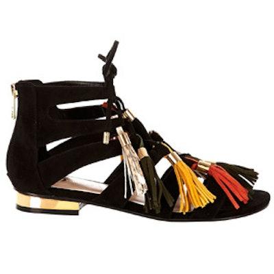 Black Tassel Gladiator Flat Sandals