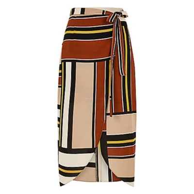Striped Wrap Front Skirt