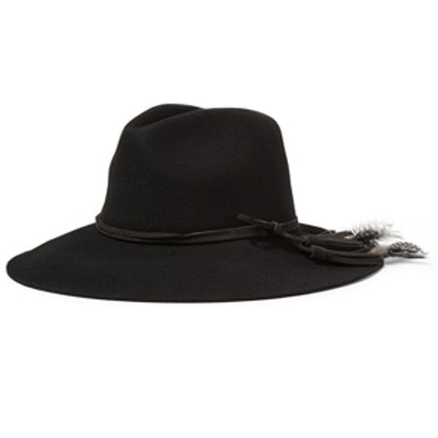 Suede and Feather-Trimmed Fedora