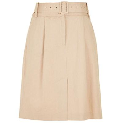Esteban Twill Belted Skirt