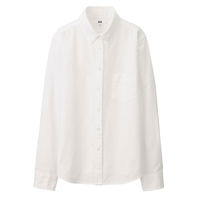 Women Oxford Long Sleeve Shirt in White