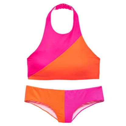 Colorblock High-Neck Bikini