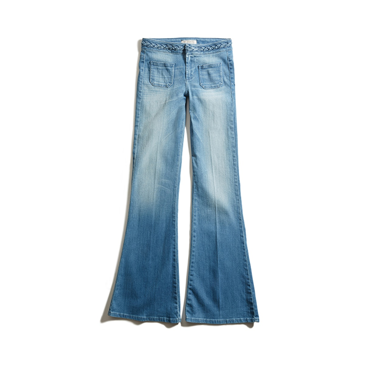Mid-Rise Braided Flare Jean in '70s Blue Wash'