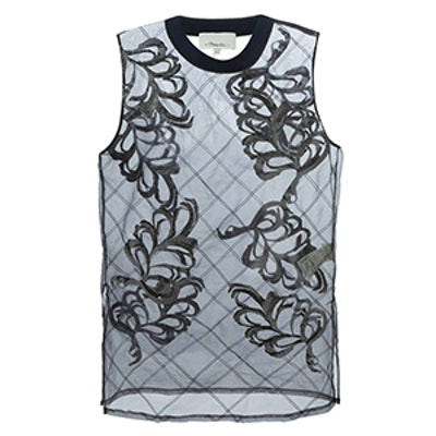 Sheer Fern Embroidered Tank Top