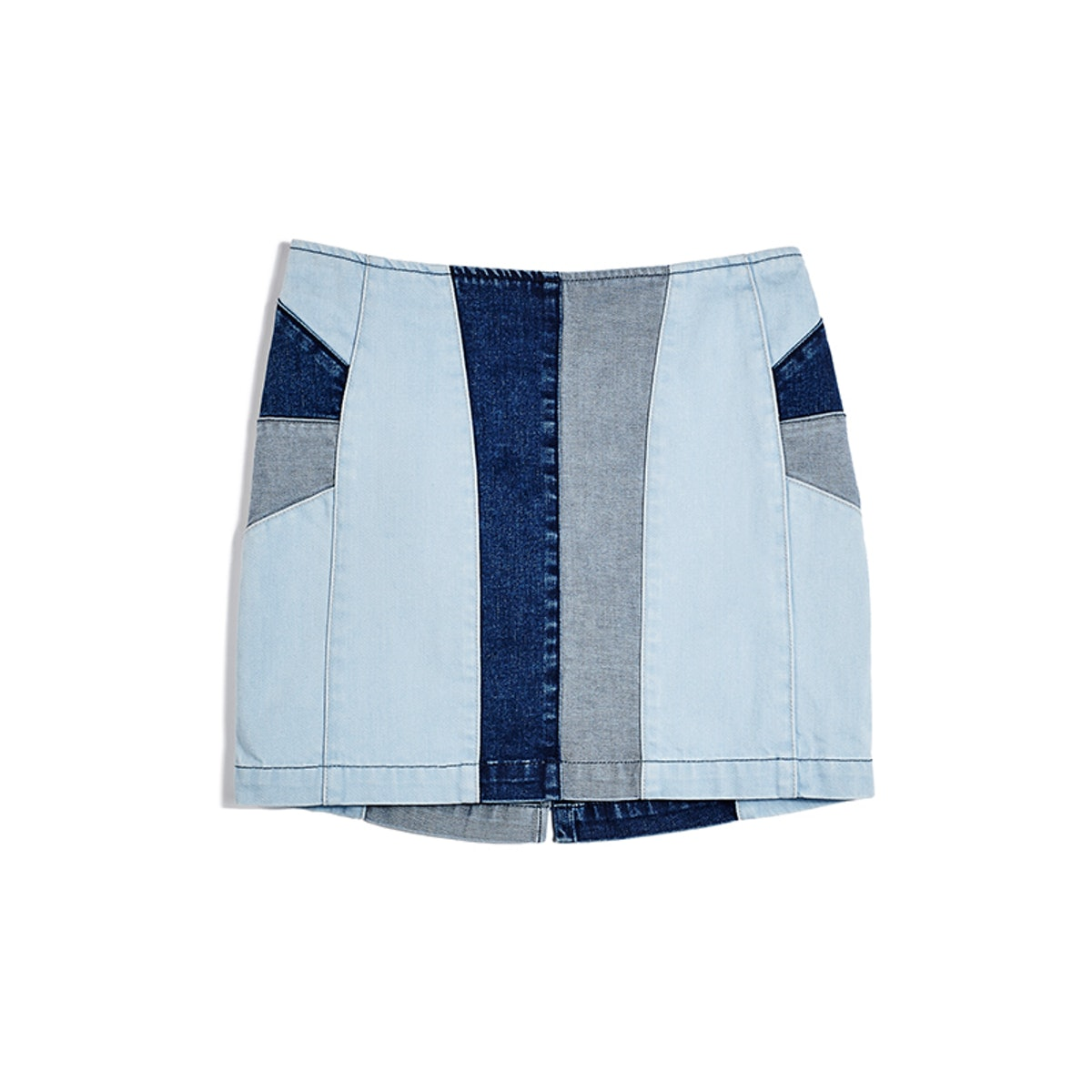 Patched Denim Miniskirt