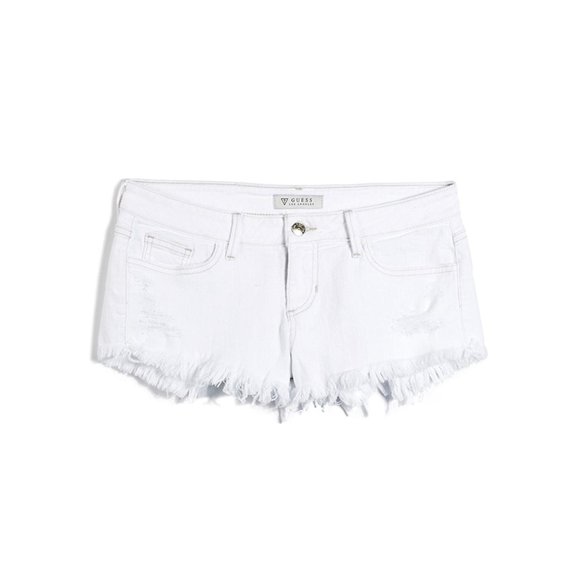 Kate Cutoff Denim Shorts in White Overdyed Destroy Wash