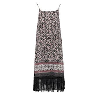 Fringed Floral Border Print Shift Dress