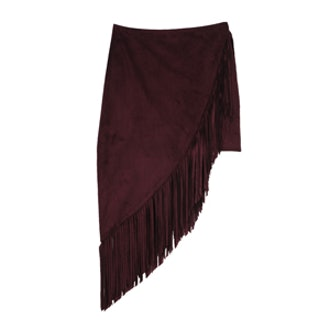 Burgundy Fringed Asymmetrical Pencil Skirt