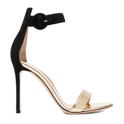 Suede And Metallic Leather Sandals
