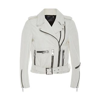 White Lambs Leather Zippered Biker Jacket