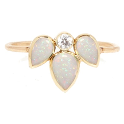 Yellow Gold, Opal & Diamond Ring