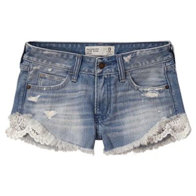 Lace Panel Denim Shorts