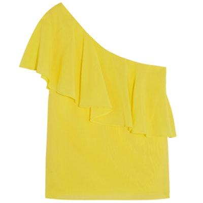 Izidora One-Shoulder Stretch-Silk Top