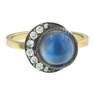 Yellow Gold, Black Rhodium, Blue Moonstone & Diamond Ring