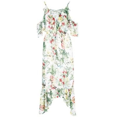 Floral Print Ruffle Neck Maxi Dress