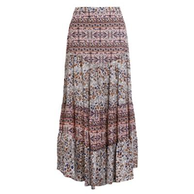 Floral-Print Cotton-Voile Maxi Skirt