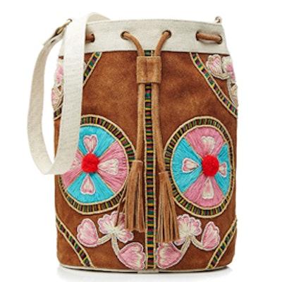 Embroidered Drawstring Shoulder Bag with Suede