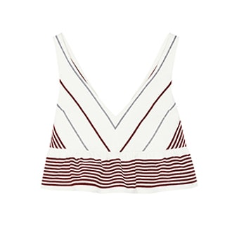 Annaline Cropped Striped Crepe Top