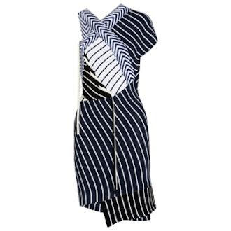 Striped Ribbed-Knit Mini Dress