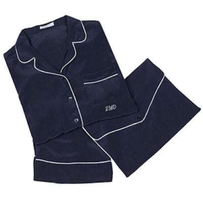 Monogrammed Silk Pajama Set