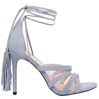Pale Blue Suede Tie Up Heeled Sandals