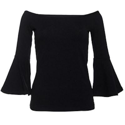 Black Off The Shoulder Ruffled Sleeved Top