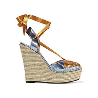 Metallic Leather and Satin Espadrille Sandals