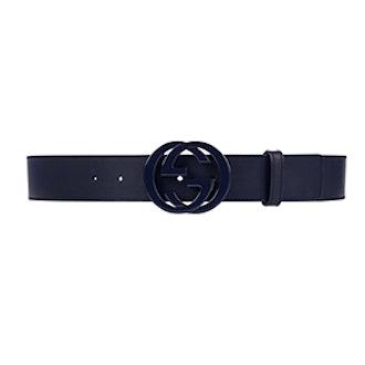 Leather Belt with Interlocking G