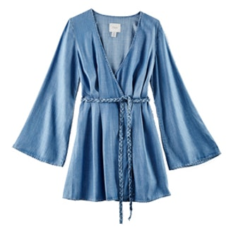 Bell-Sleeve Chambray Dress