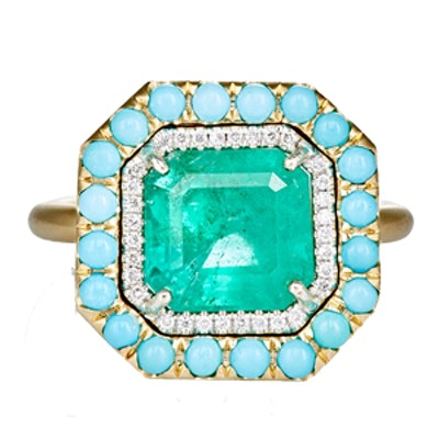 Yellow Gold, Emerald, Diamond & Turquoise Ring