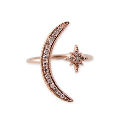 14K Gold & Pave Diamond Moon + Star Ring