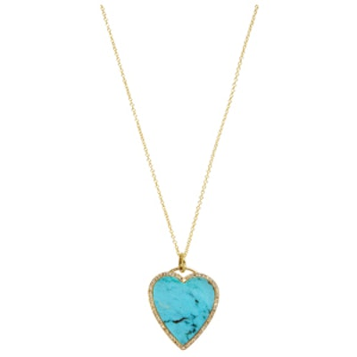 18K Gold, Turquoise & Diamond Heart Pendant