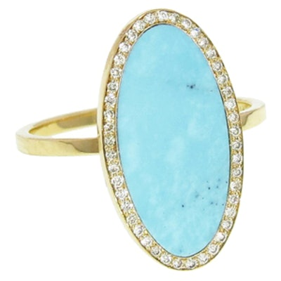 Yellow Gold, Turquoise & Diamond Ring