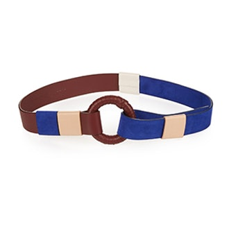 Contrast Leather and Suede Waist Belt