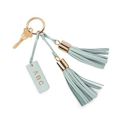 Monogrammed Leather Tassel Keychain