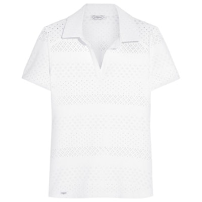 Perforated Stretch-Lace Tennis Top
