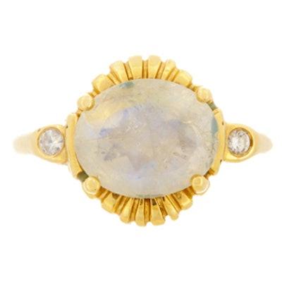 Yellow Gold, Moonstone & Diamond Ring