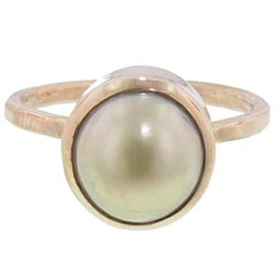 Yellow Gold & South Sea Baroque Pearl Ring