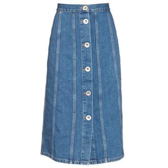 Simone Button-Down Denim Skirt