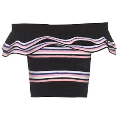 Off-The-Shoulder Stripe Knit Top