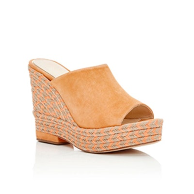 Clare Orange Suede Wedges